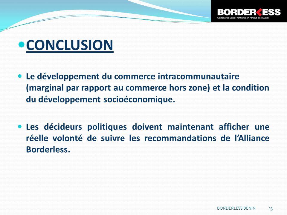 CONCLUSION Le développement du commerce intracommunautaire (marginal par rapport au commerce hors zone) et la condition du développement socioéconomique.