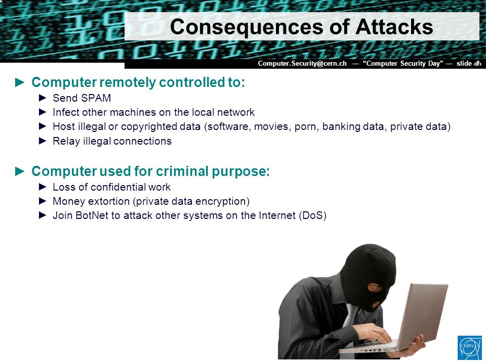 Dr. Stefan Lüders (CERN IT/CO) DESY 20. Februar 2007 Computer.Security@cern.ch Computer Security Day slide 6 Consequences of Attacks Computer remotely