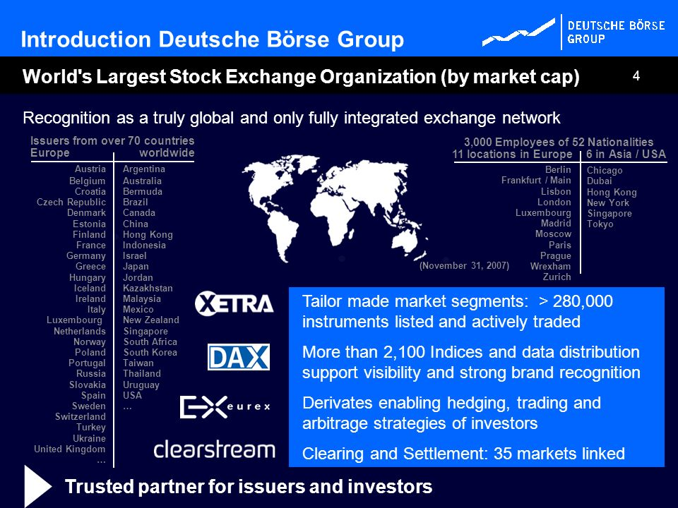 4 Recognition as a truly global and only fully integrated exchange network Introduction Deutsche Börse Group 6 in Asia / USA11 locations in Europe Ber