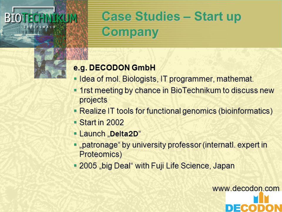 Case Studies – Start up Company e.g. DECODON GmbH Idea of mol.
