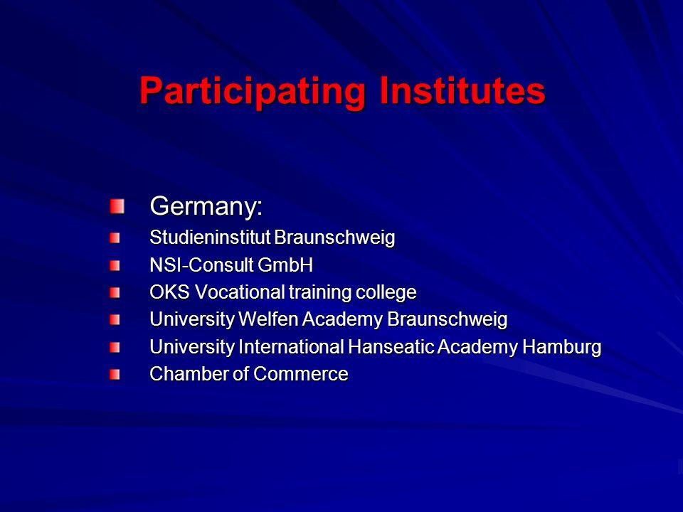 Participating Institutes Germany: Studieninstitut Braunschweig NSI-Consult GmbH OKS Vocational training college University Welfen Academy Braunschweig University International Hanseatic Academy Hamburg Chamber of Commerce