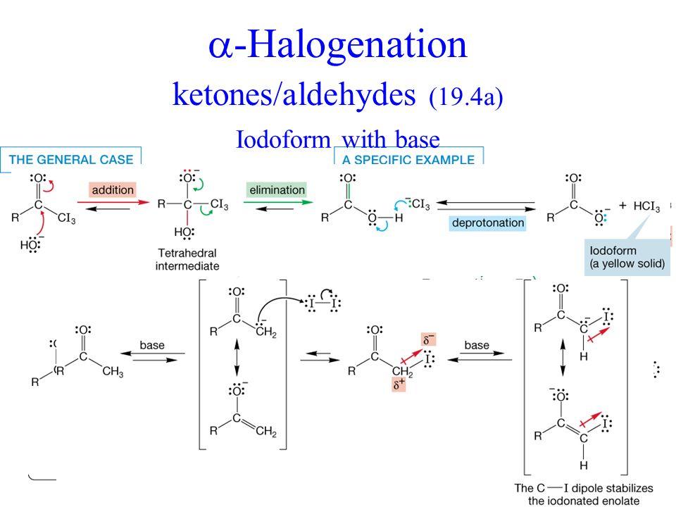 -Halogenation ketones/aldehydes (19.4a) + Iodoform with base