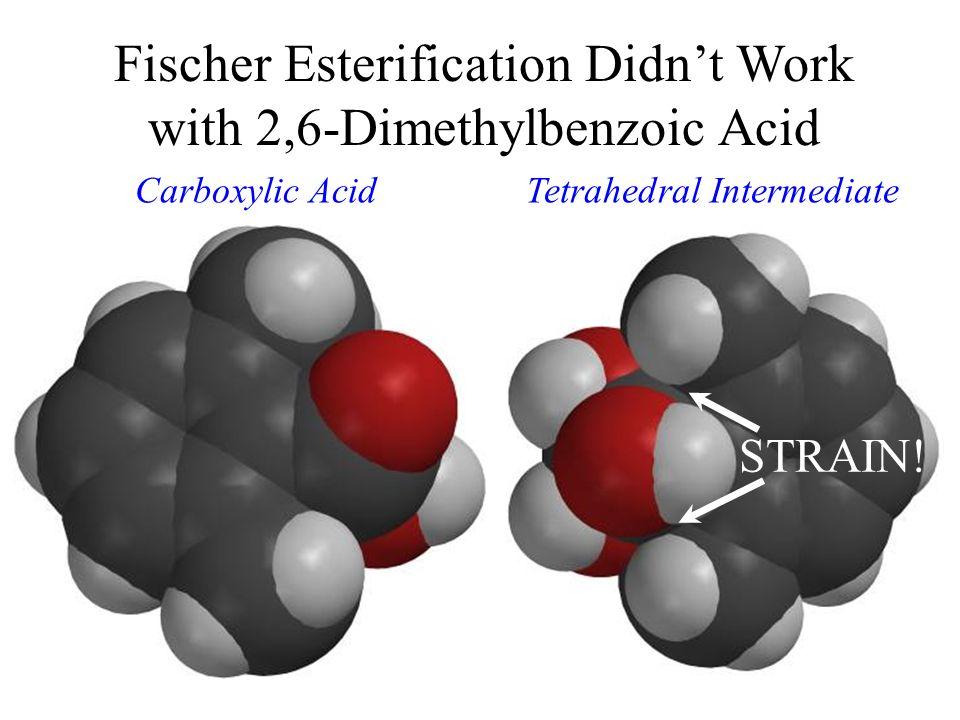 Tetrahedral Intermediate Fischer Esterification Didnt Work with 2,6-Dimethylbenzoic Acid STRAIN! Carboxylic Acid