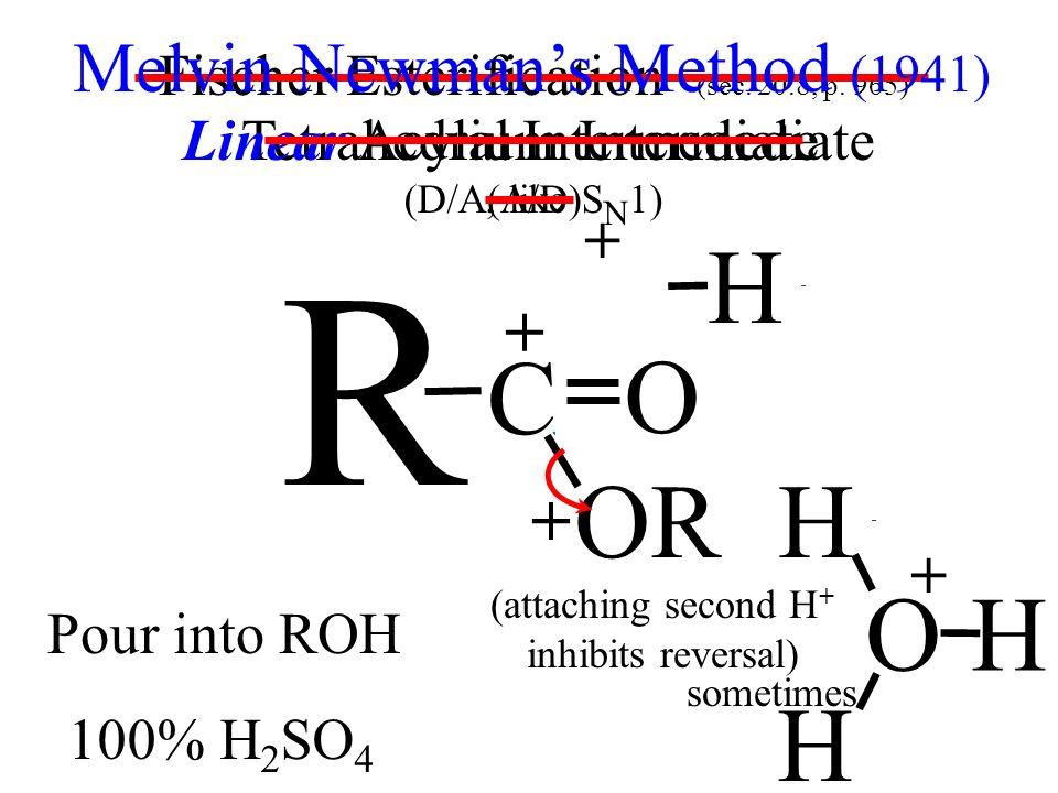 Tetrahedral Intermediate (A/D) R Linear Acylium Intermediate (D/A, like S N 1) OH R C O substitution at C Fischer Esterification (sec. 20.8, p. 965) H