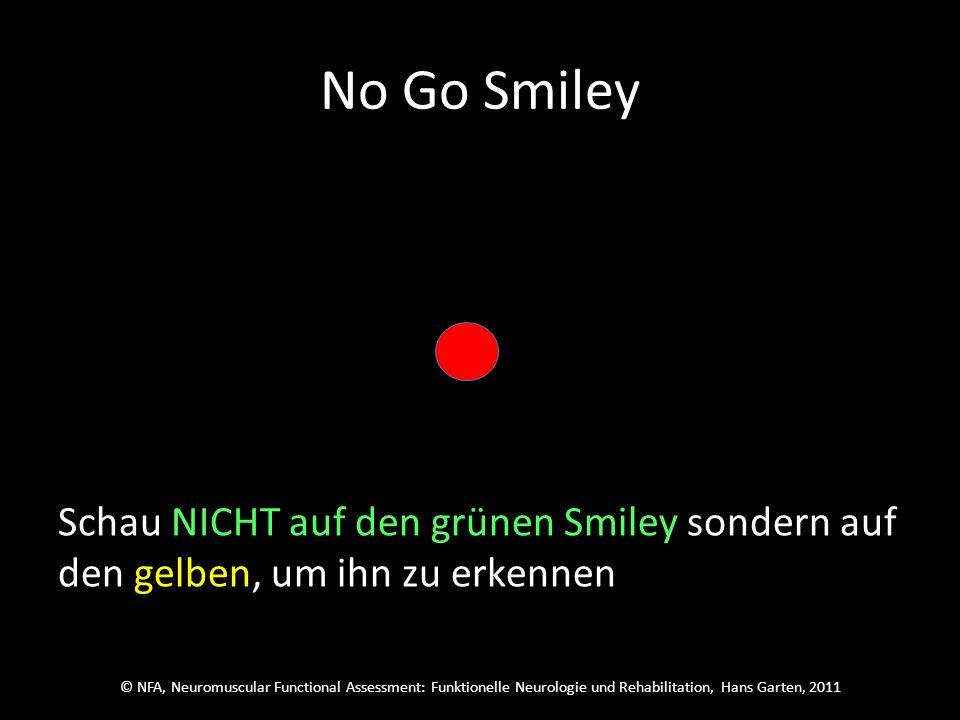 © NFA, Neuromuscular Functional Assessment: Funktionelle Neurologie und Rehabilitation, Hans Garten, 2011 No Go Smiley Schau auf den roten Punkt