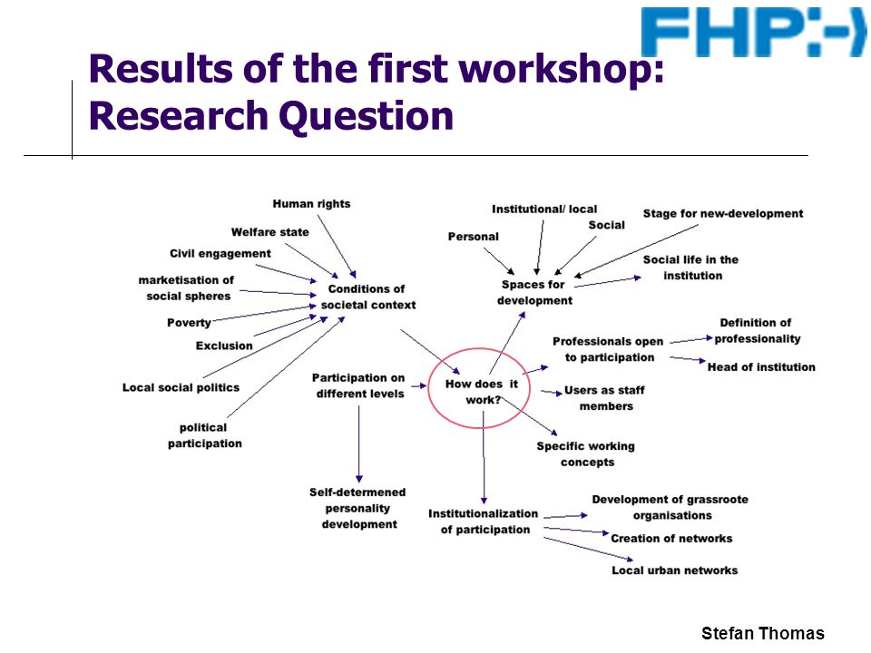 Stefan Thomas Results of the first workshop: Research Question