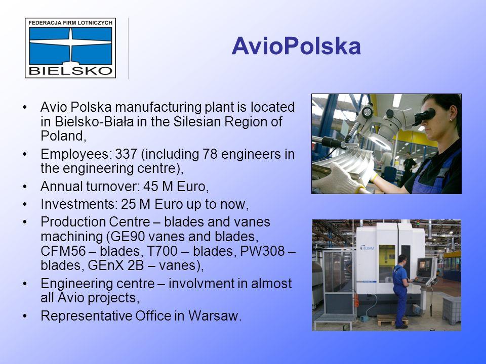 AvioPolska Avio Polska manufacturing plant is located in Bielsko-Biała in the Silesian Region of Poland, Employees: 337 (including 78 engineers in the