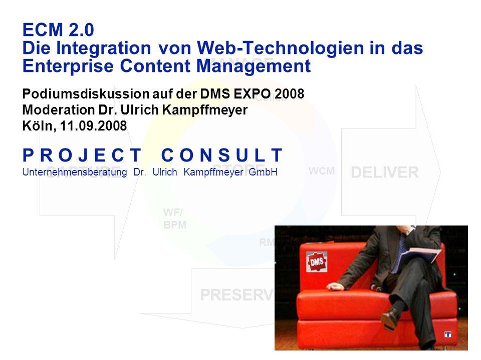 CAPTURE PRESERVE DELIVER STORE MANAGE STORE WCM RM WF/ BPM DM Collab ECM 2.0 Die Integration von Web-Technologien in das Enterprise Content Management Podiumsdiskussion auf der DMS EXPO 2008 Moderation Dr.