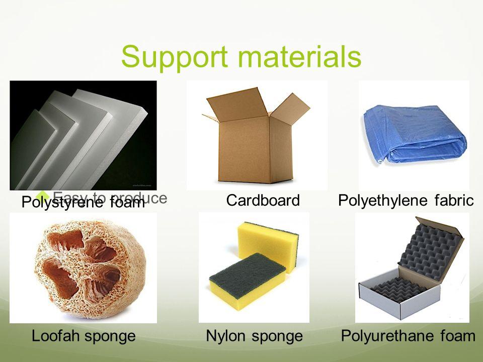 Support materials Inexpensive Reusable Easy to produce Easy to obtain Polystyrene foam CardboardPolyethylene fabric Loofah spongeNylon spongePolyureth