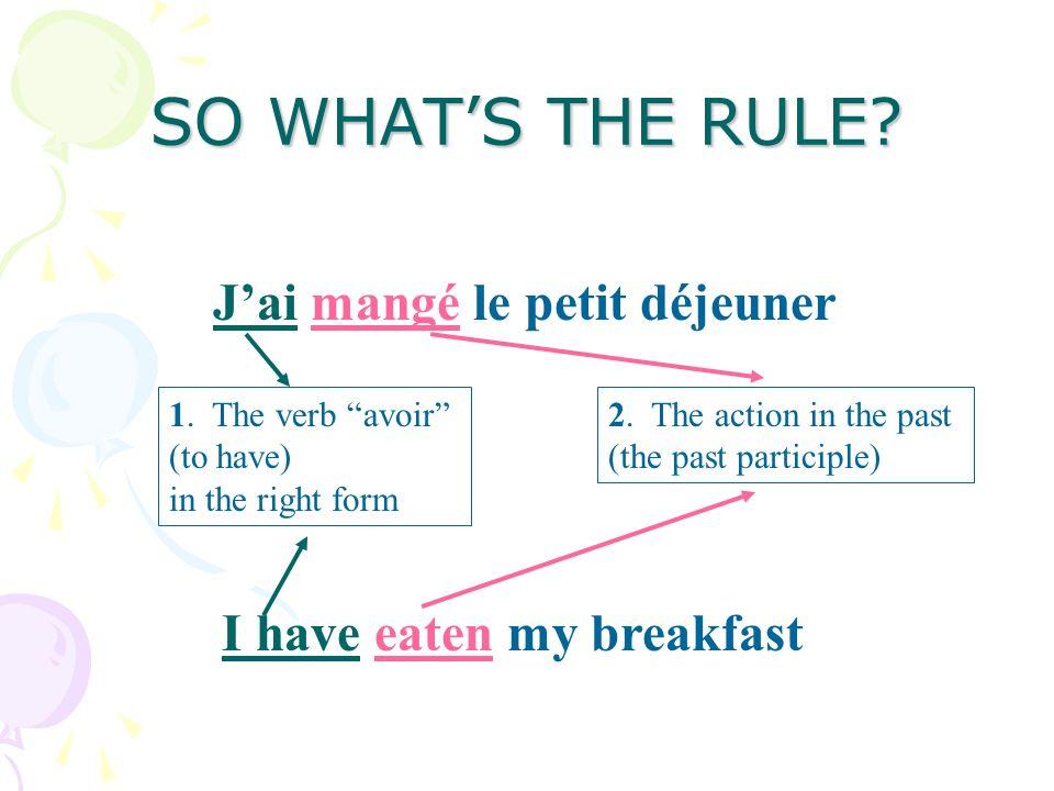 HOW IT WORKS IN FRENCH Now here are a few sentences in French: 1Jai mangé le petit déjeuner 2Tu as acheté tes CDs! 3Ils ont fait leurs devoirs Can you