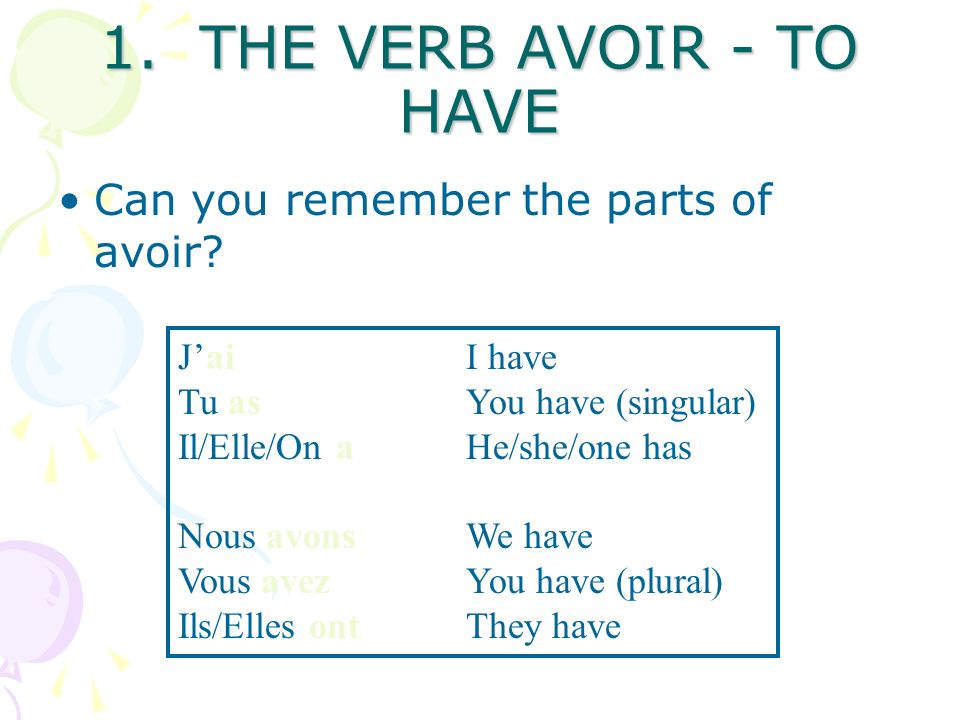 THE TWO THINGS ARE…. 1. The verb avoir (to have) in the right form 2.