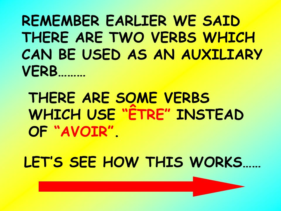 REMEMBER EARLIER WE SAID THERE ARE TWO VERBS WHICH CAN BE USED AS AN AUXILIARY VERB……… THERE ARE SOME VERBS WHICH USE ÊTRE INSTEAD OF AVOIR. LET S SEE