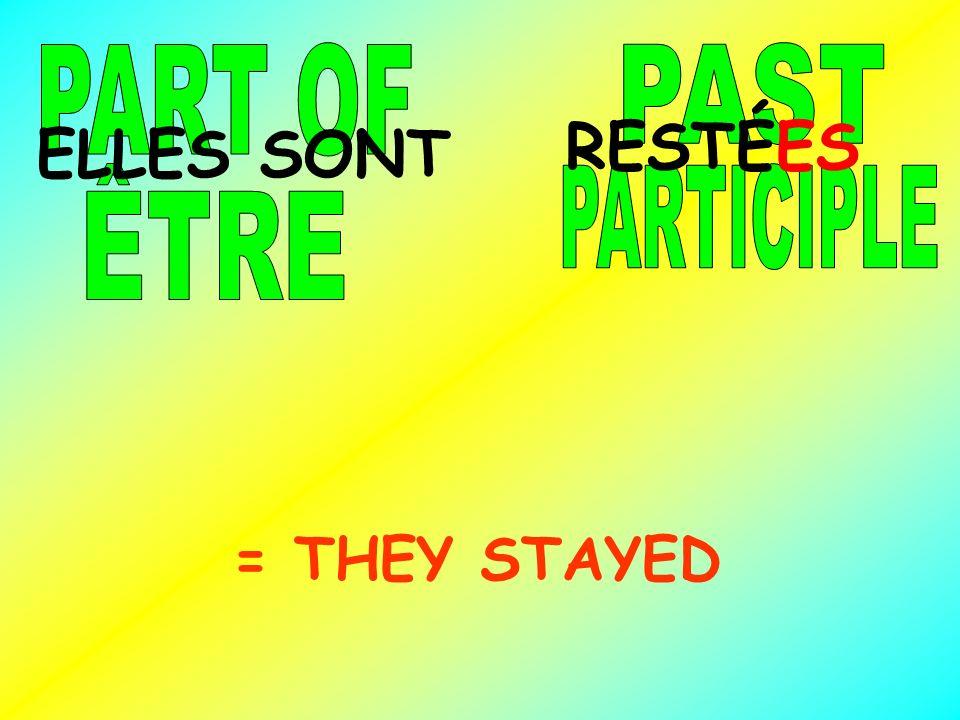 RESTÉES = THEY STAYED ELLES SONT