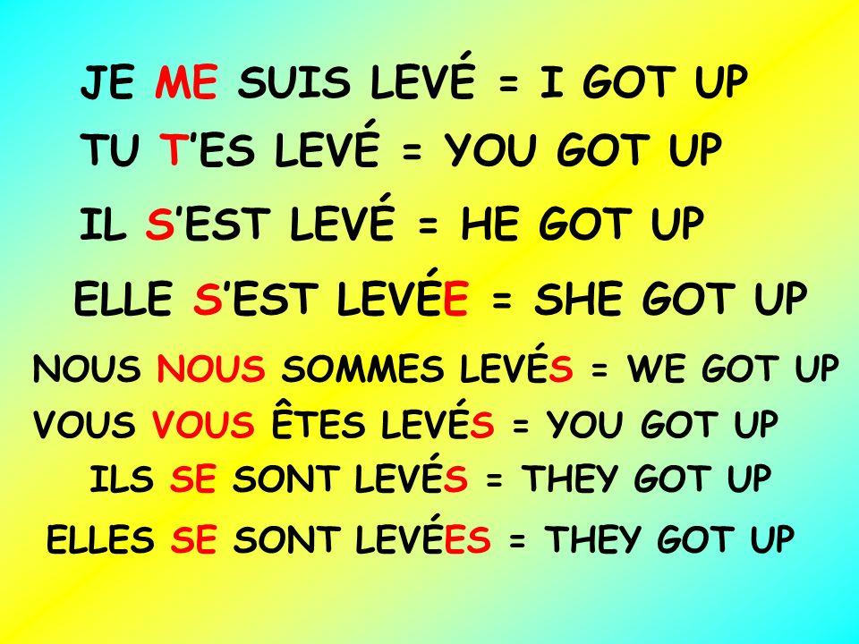 JE ME SUIS LEVÉ = I GOT UP TU TES LEVÉ = YOU GOT UP IL SEST LEVÉ = HE GOT UP ELLE SEST LEVÉE = SHE GOT UP NOUS NOUS SOMMES LEVÉS = WE GOT UP VOUS VOUS