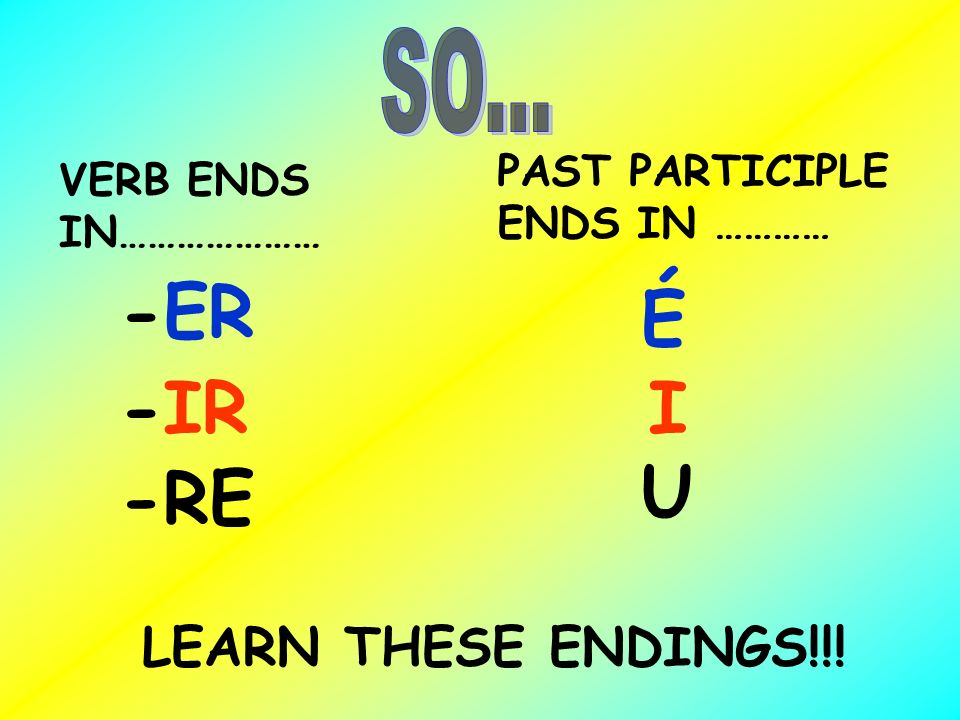 PAST PARTICIPLE ENDS IN ………… VERB ENDS IN………………… -ER -IR -RE É I U LEARN THESE ENDINGS!!!