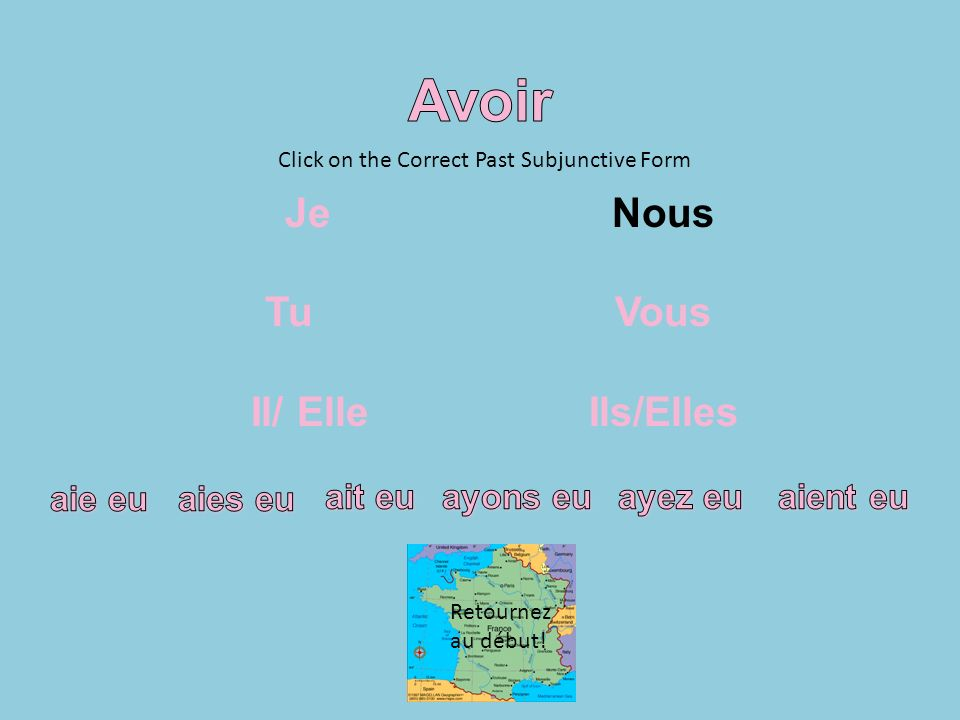 Click on the Correct Past Subjunctive Form Retournez au début!