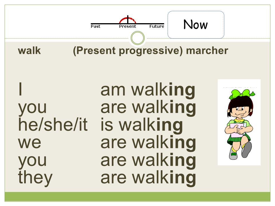walk(Present progressive) marcher I am walking you are walking he/she/it is walking we are walking you are walking they are walking Now