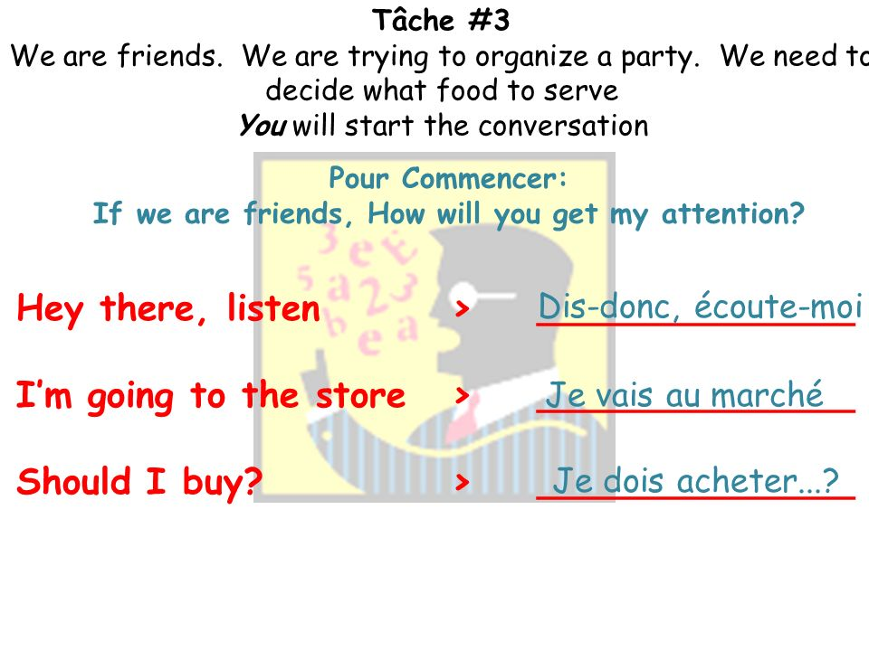 Tâche #3 We are friends. We are trying to organize a party. We need to decide what food to serve. You will start the conversation. Vocabulaire et Gram