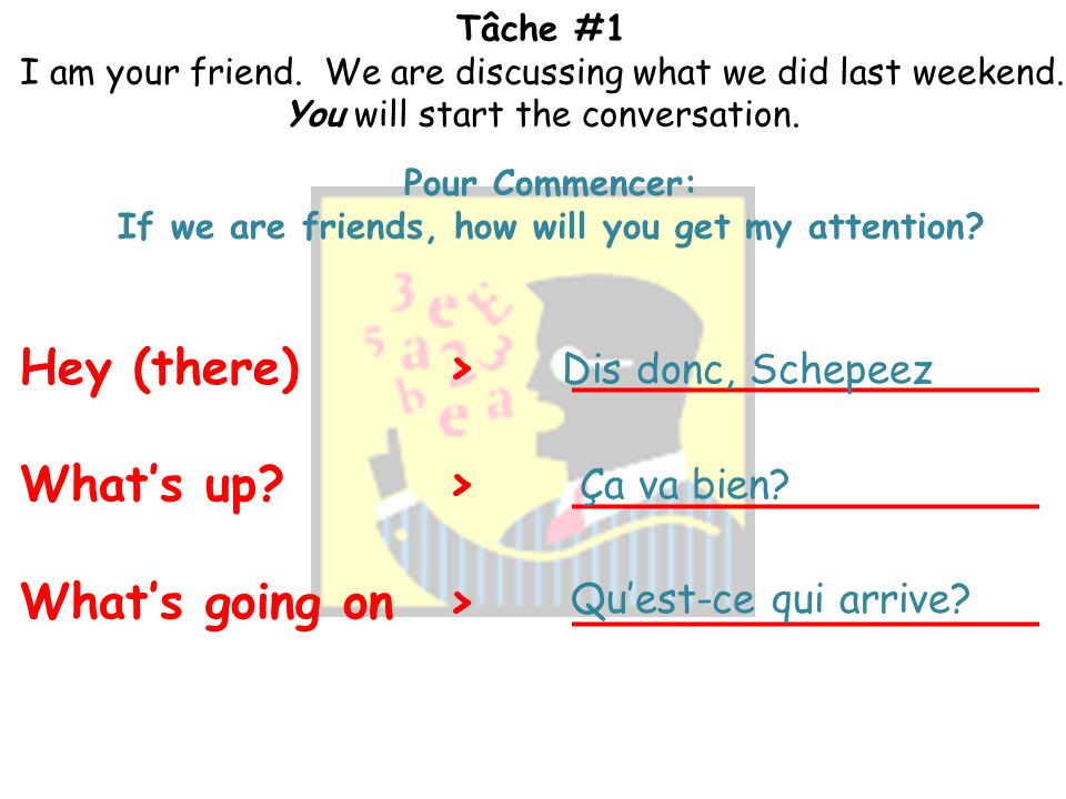 Tâche #1 I am your friend. We are discussing what we did last weekend. You will start the conversation. Vocabulaire et Grammaire Necessaire Passé Comp