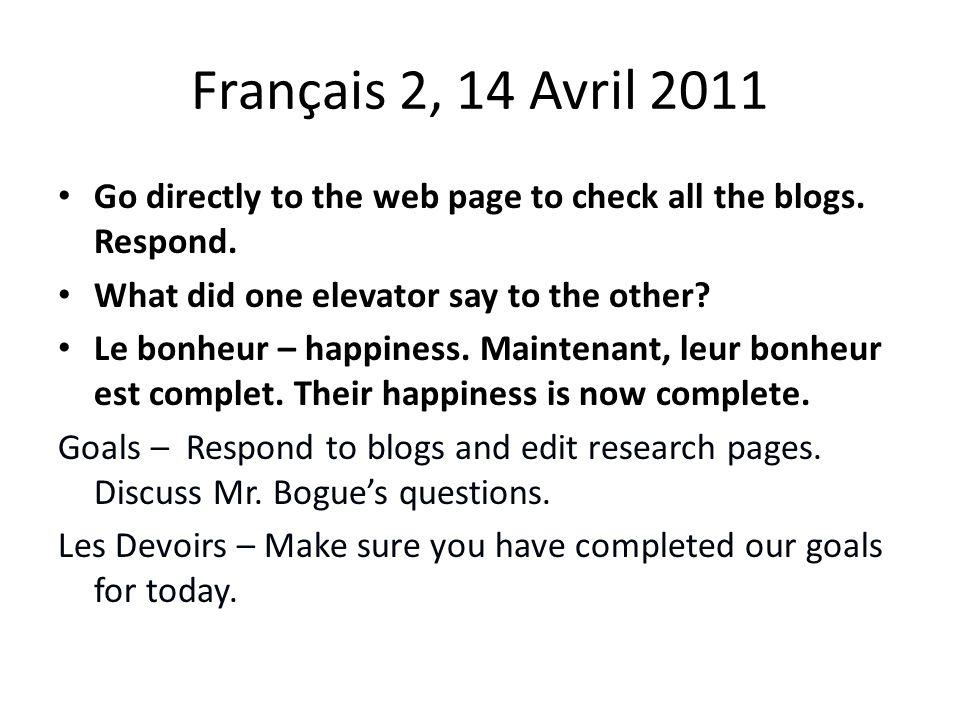 Français 2, 15 Avril 2011 Choissi un question de M.