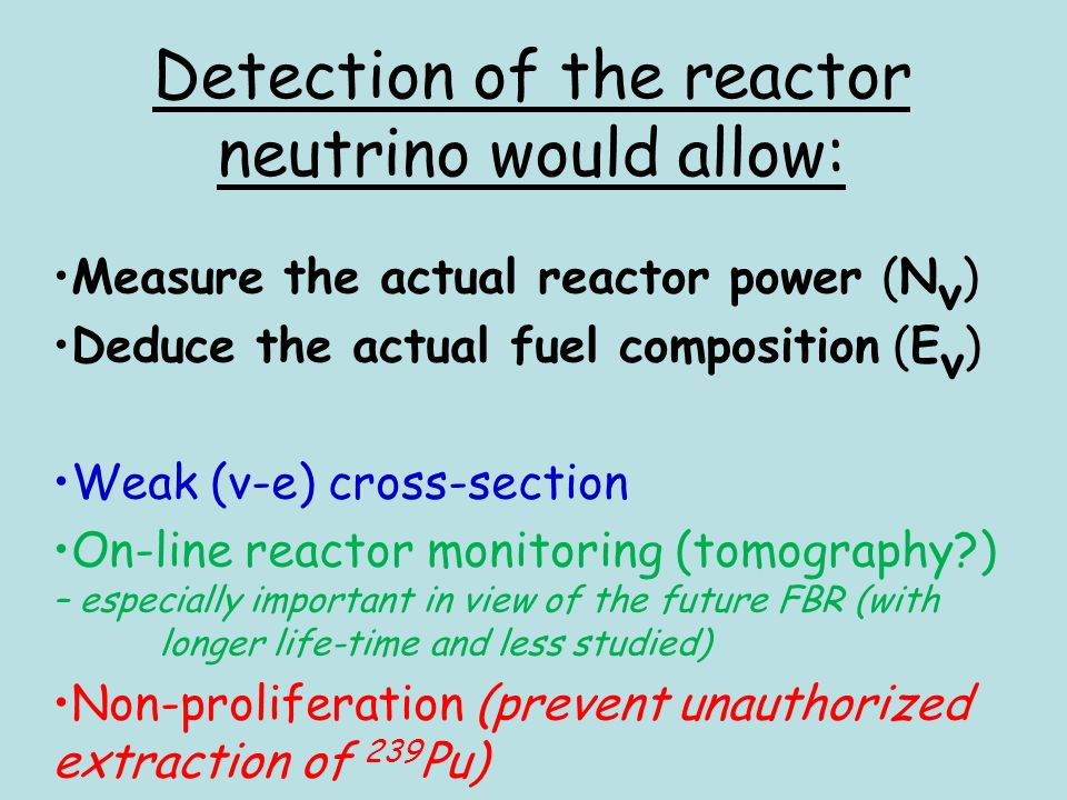 Detection of the reactor neutrino would allow: Measure the actual reactor power (N ν ) Deduce the actual fuel composition (E ν ) Weak (ν-e) cross-section On-line reactor monitoring (tomography ) – especially important in view of the future FBR (with longer life-time and less studied) Non-proliferation (prevent unauthorized extraction of 239 Pu)