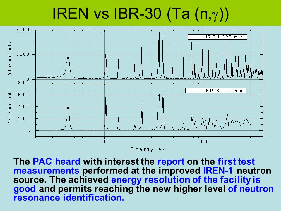 IREN vs IBR-30 (Ta (n, )) The PAC heard with interest the report on the first test measurements performed at the improved IREN-1 neutron source.