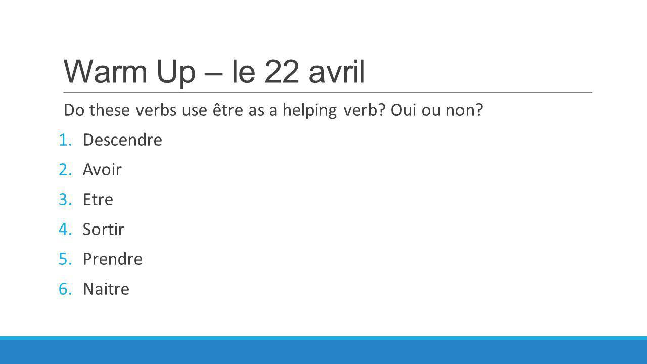 Warm Up – le 22 avril Do these verbs use être as a helping verb.