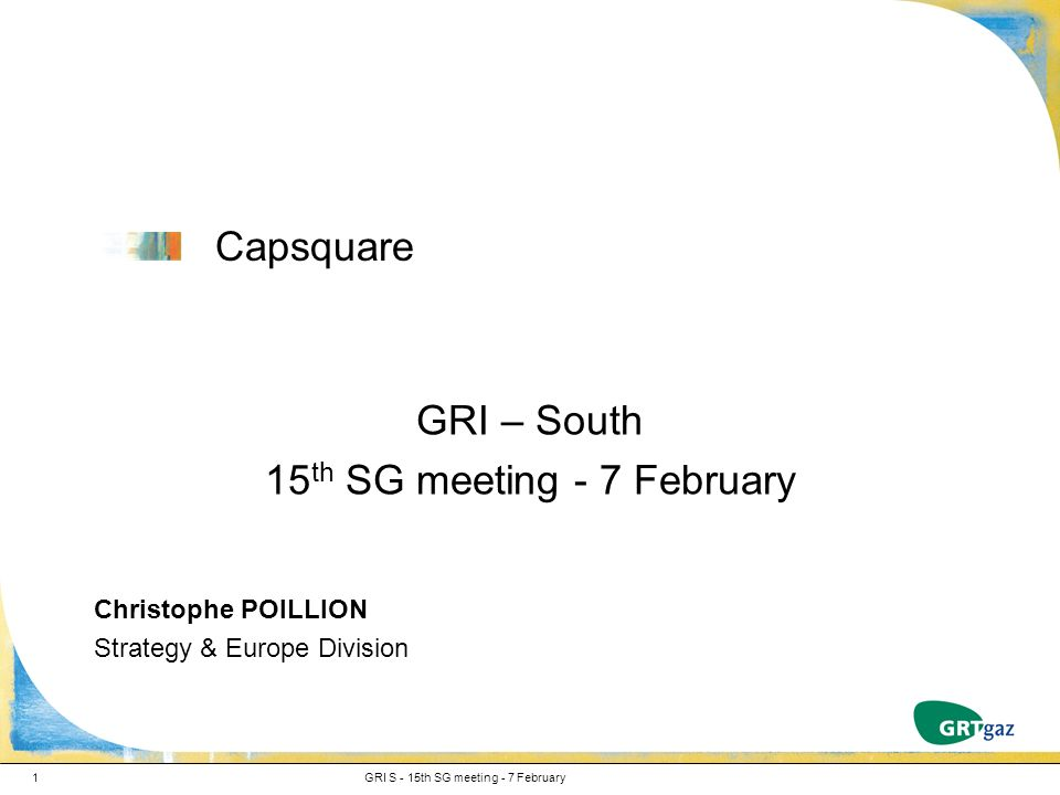 Capsquare GRI – South 15 th SG meeting - 7 February Christophe POILLION Strategy & Europe Division GRI S - 15th SG meeting - 7 February1