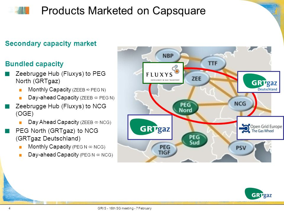 Products Marketed on Capsquare GRI S - 15th SG meeting - 7 February4 Secondary capacity market Bundled capacity Zeebrugge Hub (Fluxys) to PEG North (GRTgaz) Monthly Capacity (ZEEB PEG N) Day-ahead Capacity (ZEEB PEG N) Zeebrugge Hub (Fluxys) to NCG (OGE) Day Ahead Capacity (ZEEB NCG) PEG North (GRTgaz) to NCG (GRTgaz Deutschland) Monthly Capacity (PEG N NCG) Day-ahead Capacity (PEG N NCG)