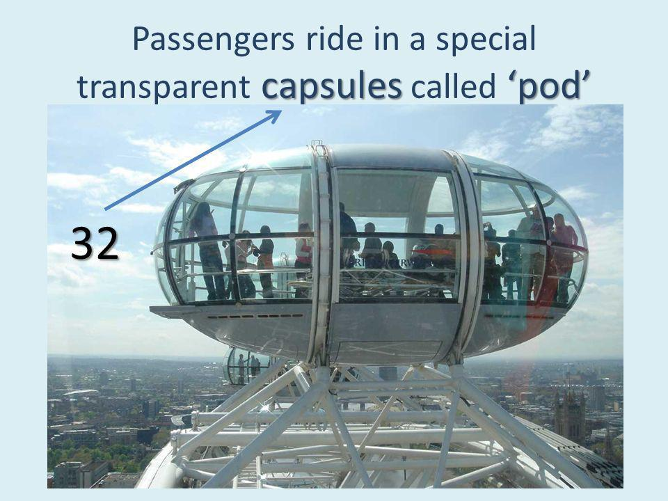 capsulespod Passengers ride in a special transparent capsules called pod 32