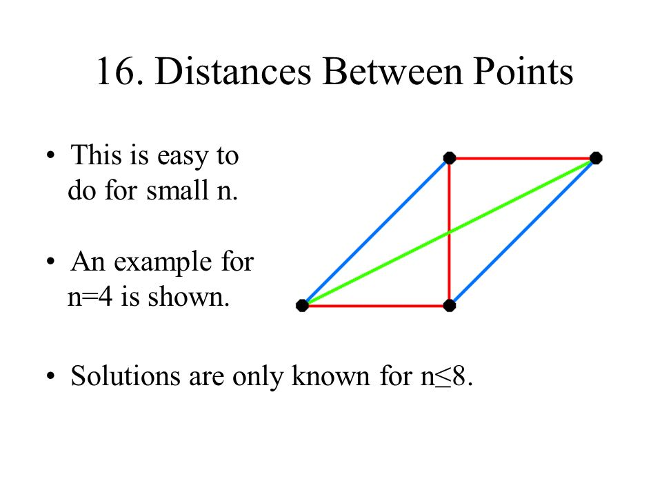 16.Distances Between Points A solution by Pilásti for n=8 is shown to the right.