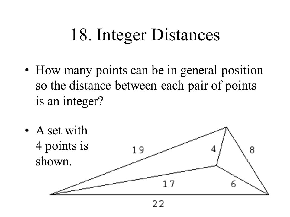 18. Integer Distances Leech found a set of 6 points with this property. Are there larger sets?