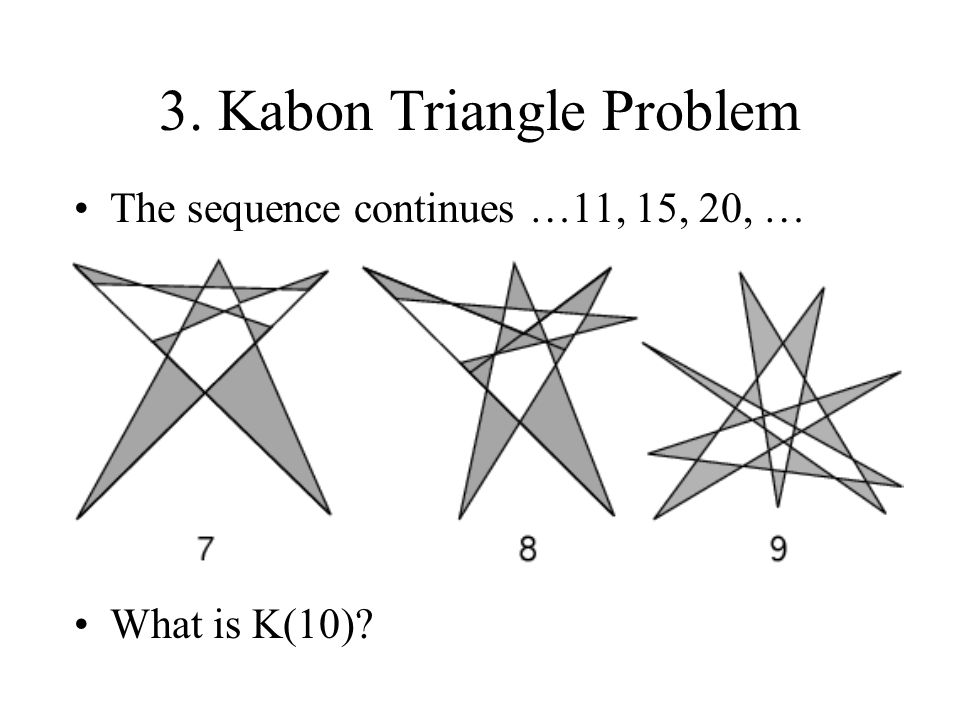 3. Kabon Triangle Problem The sequence continues …11, 15, 20, … What is K(10)?