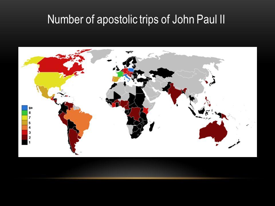 Number of apostolic trips of John Paul II