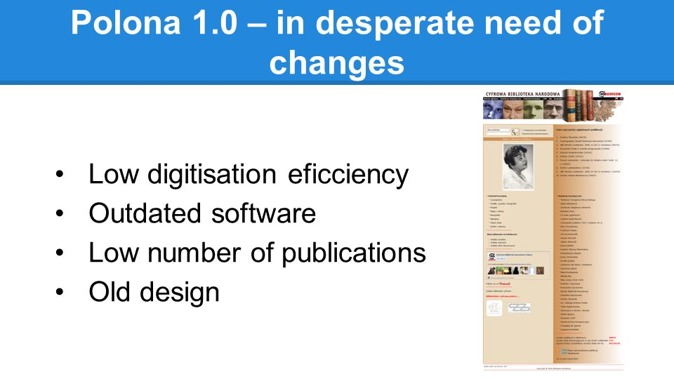 Polona 1.0 – in desperate need of changes Low digitisation eficciency Outdated software Low number of publications Old design