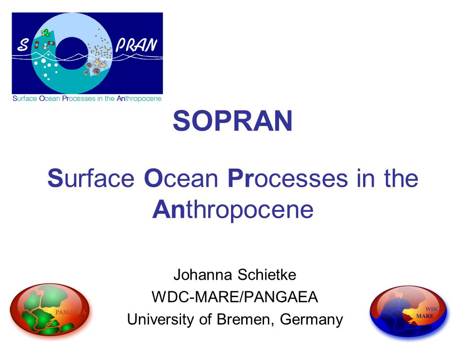 SOPRAN Surface Ocean Processes in the Anthropocene Johanna Schietke WDC-MARE/PANGAEA University of Bremen, Germany