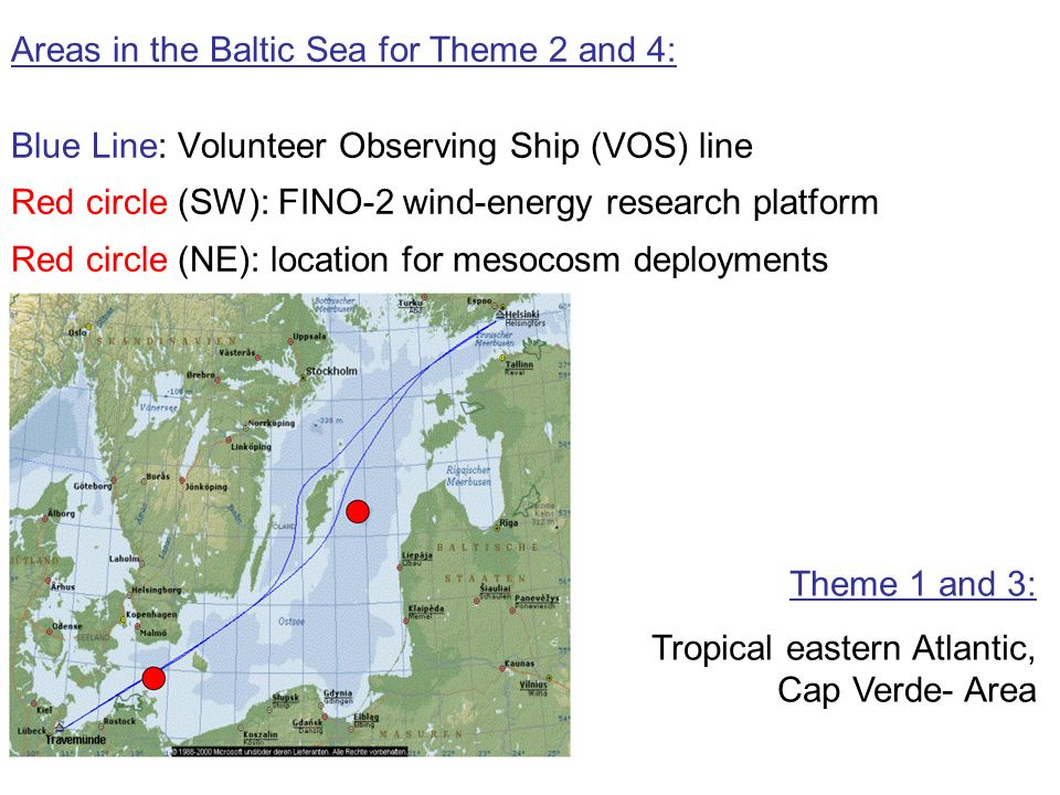 Areas in the Baltic Sea for Theme 2 and 4: Blue Line: Volunteer Observing Ship (VOS) line Red circle (SW): FINO-2 wind-energy research platform Red circle (NE): location for mesocosm deployments Theme 1 and 3: Tropical eastern Atlantic, Cap Verde- Area