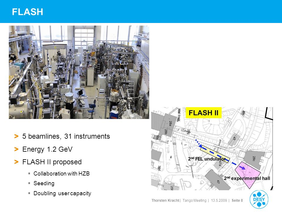 Thorsten Kracht | Tango Meeting | | Seite 8 FLASH > 5 beamlines, 31 instruments > Energy 1.2 GeV > FLASH II proposed Collaboration with HZB Seeding Doubling user capacity