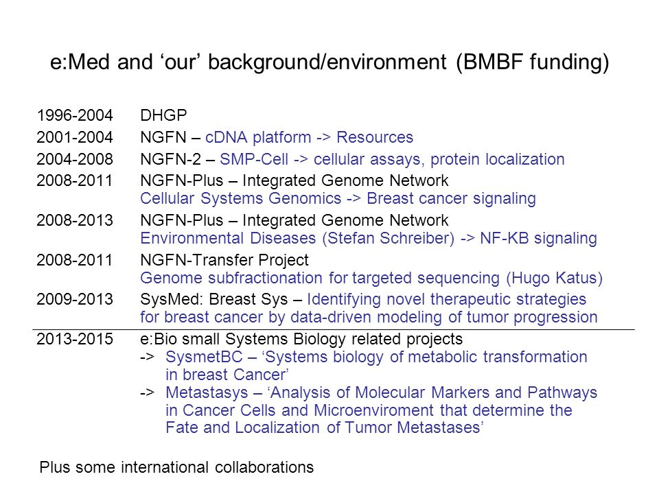 e:Med and our background/environment (BMBF funding) 1996-2004DHGP 2001-2004NGFN – cDNA platform -> Resources 2004-2008NGFN-2 – SMP-Cell -> cellular as