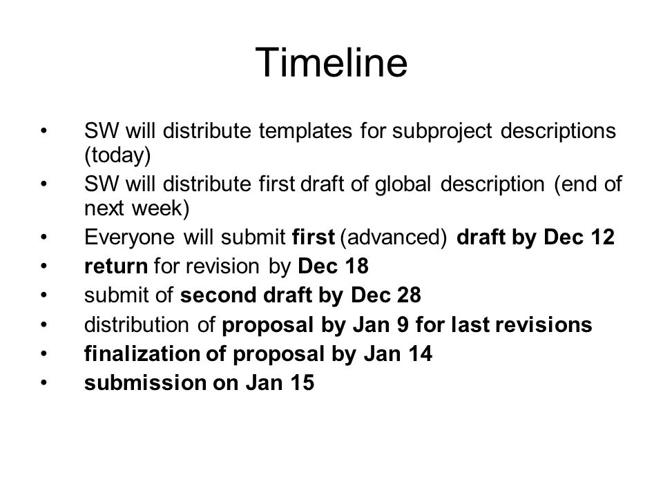 Timeline SW will distribute templates for subproject descriptions (today) SW will distribute first draft of global description (end of next week) Ever