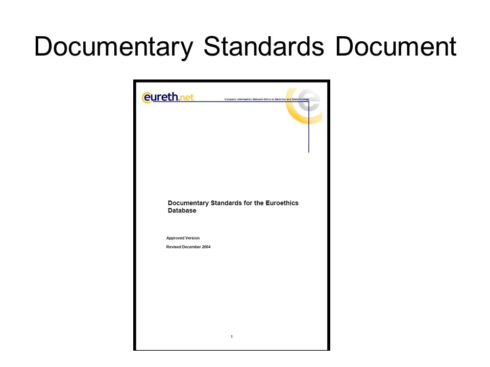Documentary Standards Document