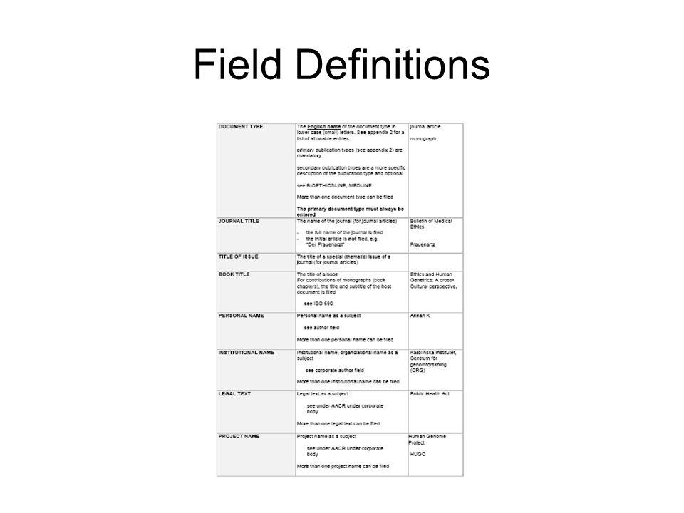 Field Definitions