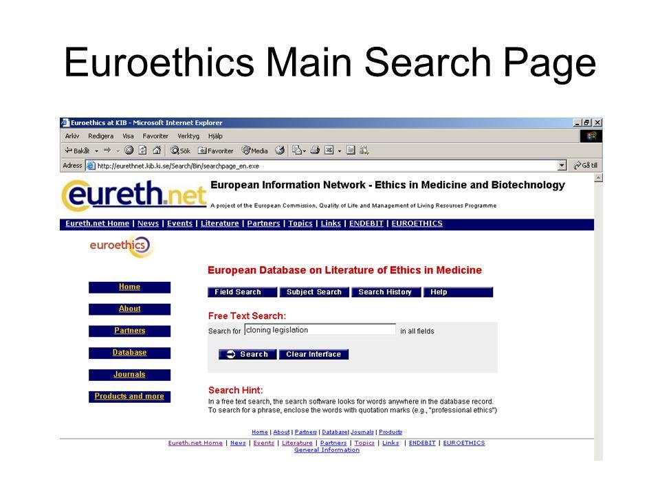 Euroethics Main Search Page
