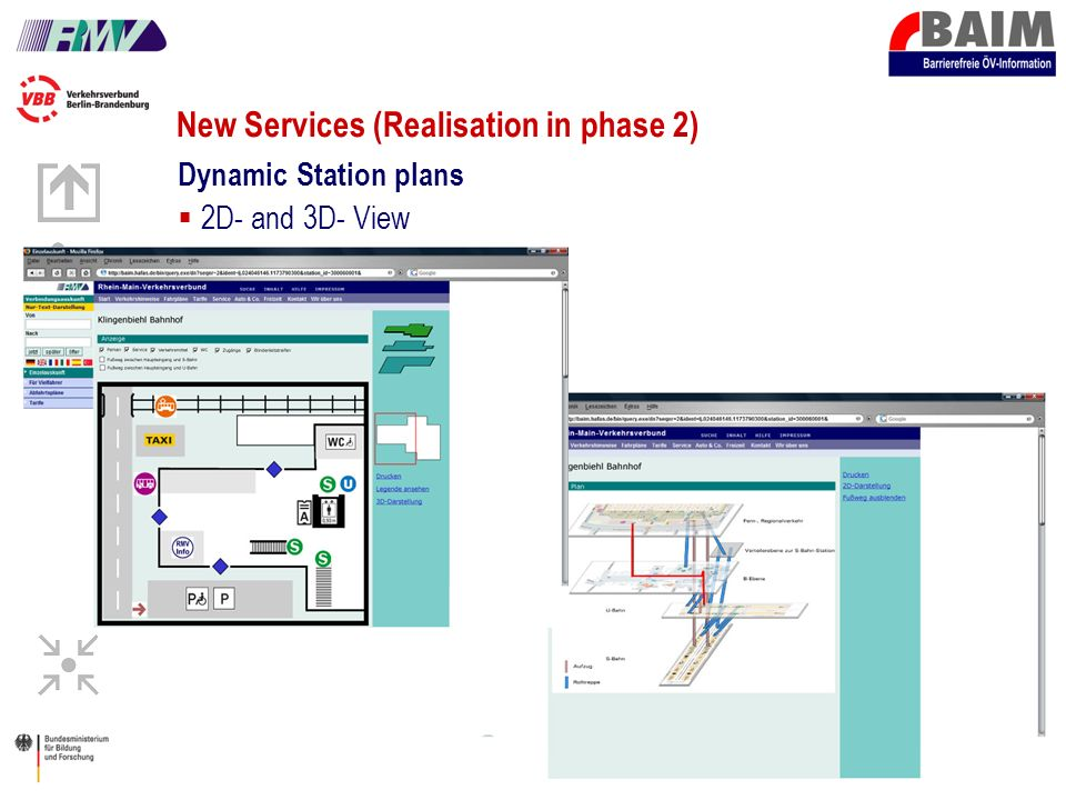 22 New Services (Realisation in phase 2) Dynamic Station plans 2D- and 3D- View