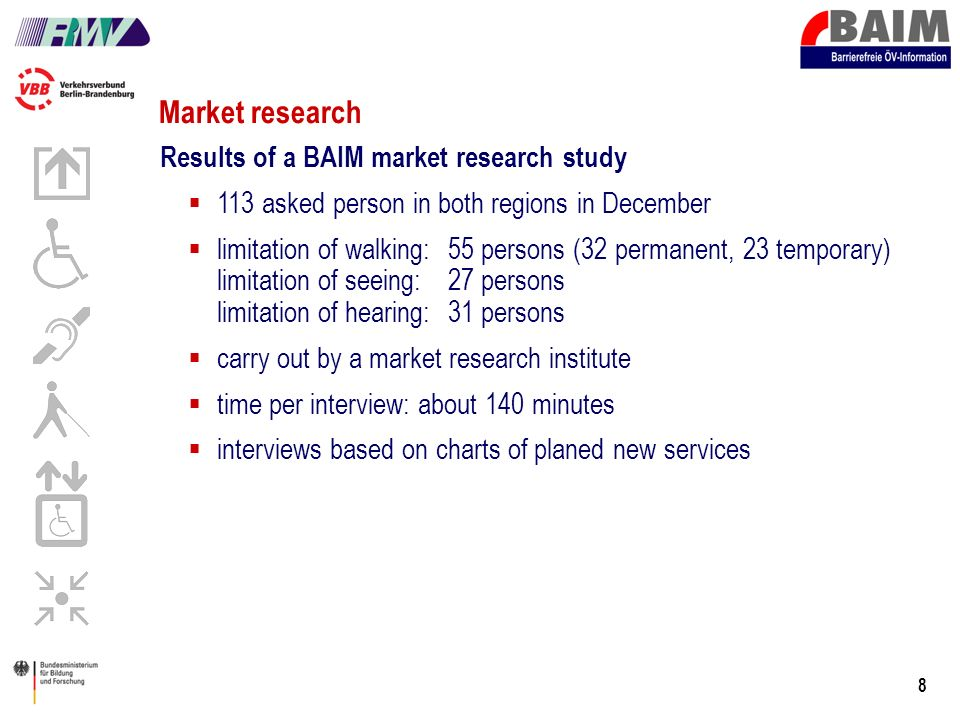 8 Market research Results of a BAIM market research study 113 asked person in both regions in December limitation of walking: 55 persons (32 permanent, 23 temporary) limitation of seeing:27 persons limitation of hearing:31 persons carry out by a market research institute time per interview: about 140 minutes interviews based on charts of planed new services
