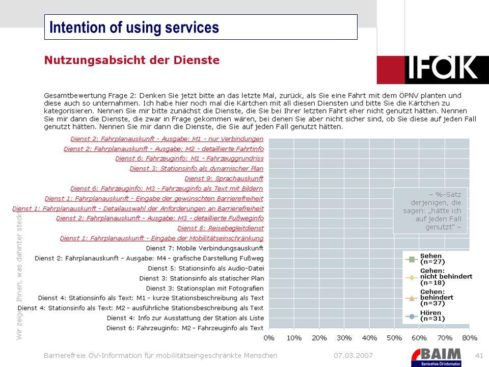 10 Vergleich Fahrplanauskunft (Ausgabe verschiedene Detaillierung) Erste Ergebnisse Intention of using services