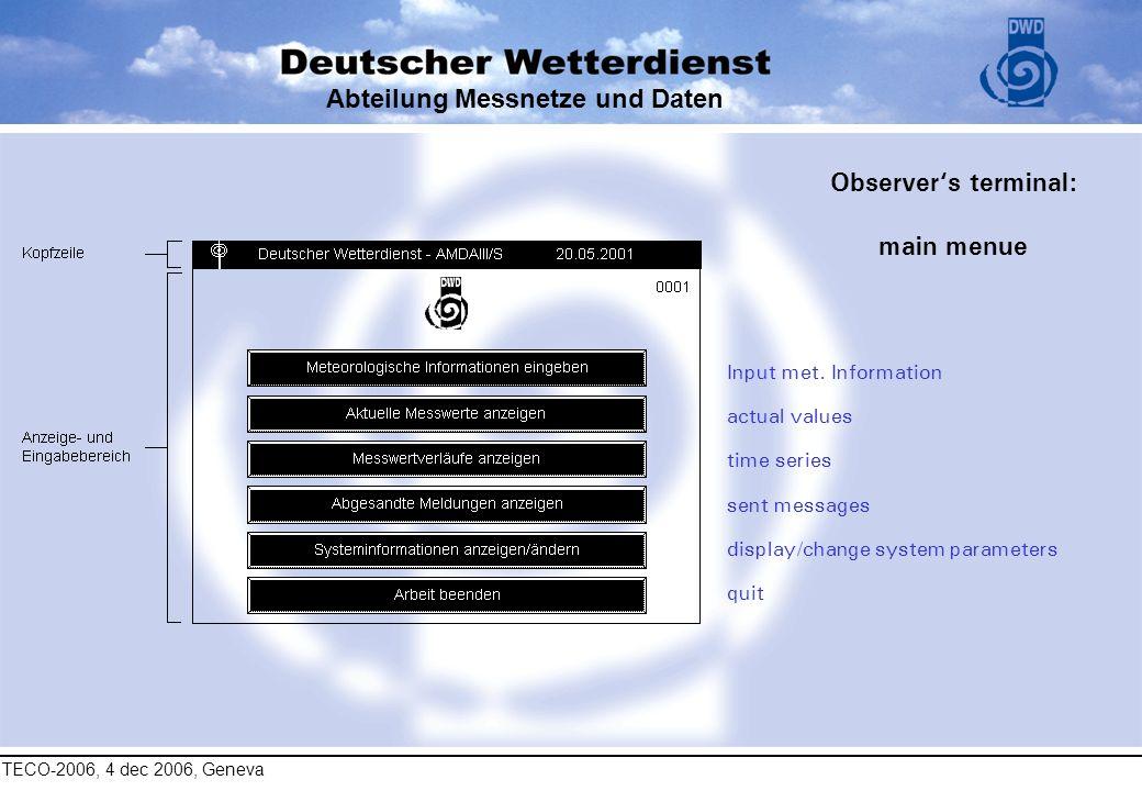 TECO-2006, 4 dec 2006, Geneva Abteilung Messnetze und Daten Observers terminal: main menue Input met. Information actual values time series sent messa
