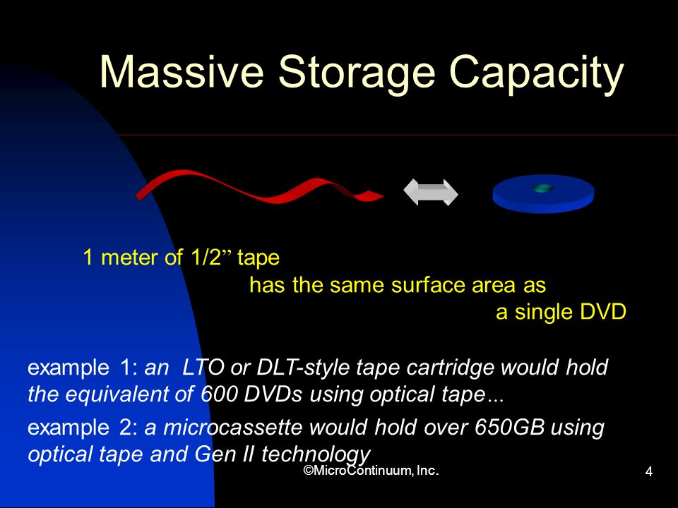 ©MicroContinuum, Inc. 4 Massive Storage Capacity 1 meter of 1/2 tape has the same surface area as a single DVD example 1: an LTO or DLT-style tape car