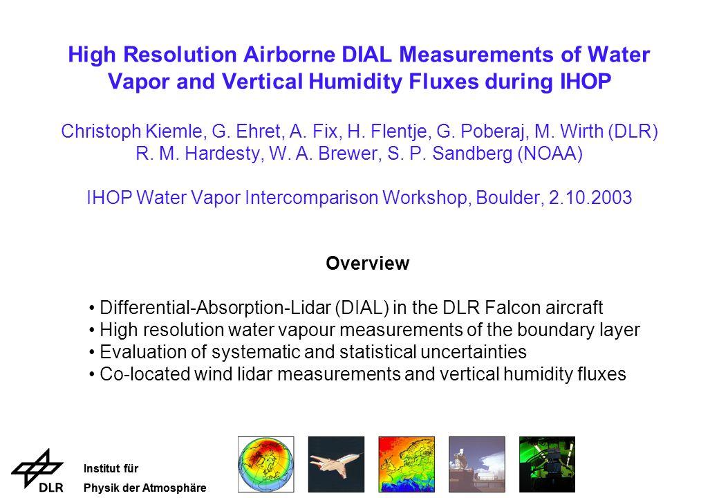 Institut für Physik der Atmosphäre IHOP Objectives and DIAL Performance
