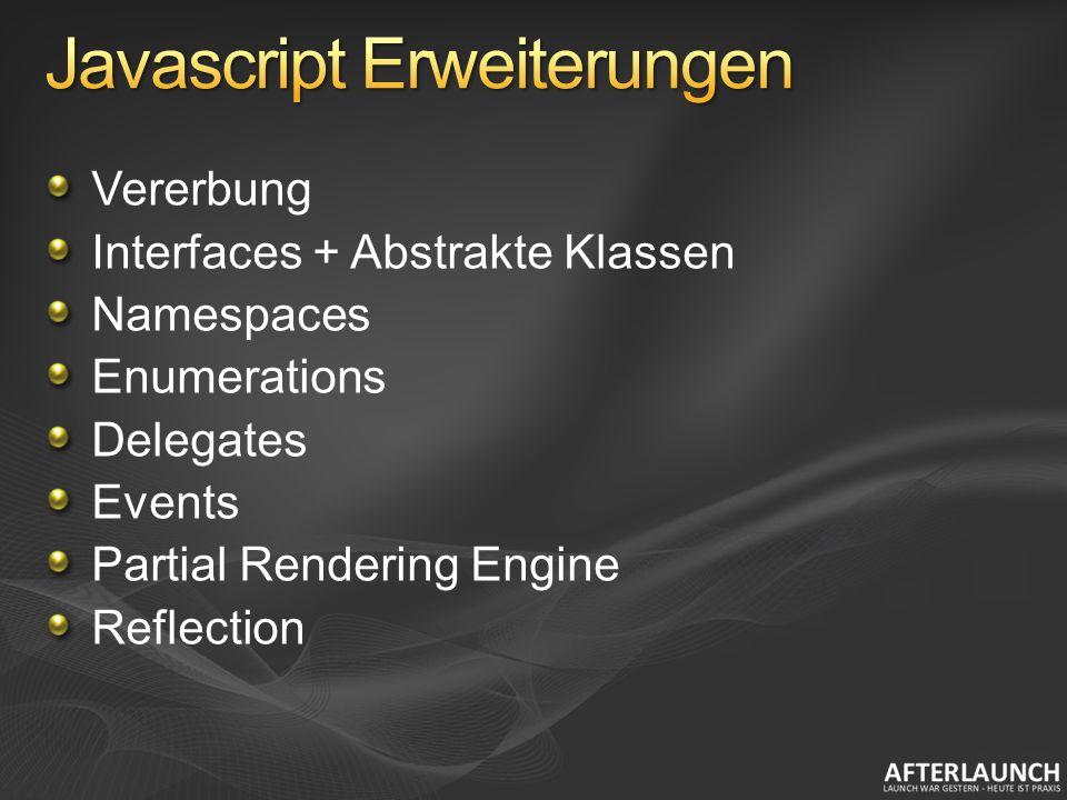Vererbung Interfaces + Abstrakte Klassen Namespaces Enumerations Delegates Events Partial Rendering Engine Reflection
